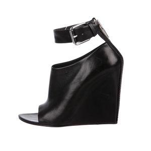 ALEXANDER WANG Black Leather Peep-Toe Booties